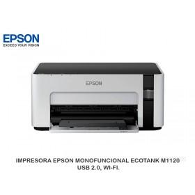 IMPRESORA EPSON MONOFUNCIONAL ECOTANK M1120 USB 2.0, WI-FI.