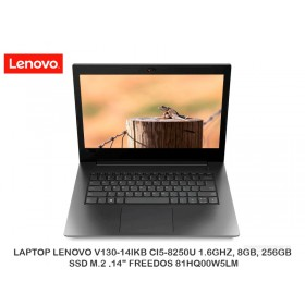 "LAPTOP LENOVO V130-14IKB CI5-8250U 1.6GHZ, 8GB, 256GB SSD M.2 ,14"" FREEDOS 81HQ00W5LM"