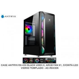 CASEANTRYXRX-430BLACKUSB3.0,ARGBFANX1,C/CINTALED, VIDRIOTEMPLADO- AC-RX430K