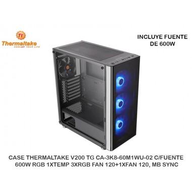 CASE THERMALTAKE V200 TG CA-3K8-60M1WU-02 C/FUENTE 600W RGB 1XTEMP 3XRGB FAN 120+1XFAN 120, MB SYNC