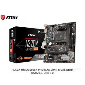 PLACA MSI A320M-A PRO MAX, AM4, S/V/R, DDR4, SATA 6.0, USB 3.2.