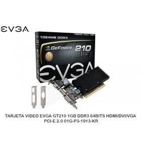 TARJETA VIDEO EVGA GT210 1GB DDR3 64BITS HDMI/DVI/VGA OCI-E 2.0 01G-P3-1913-KR