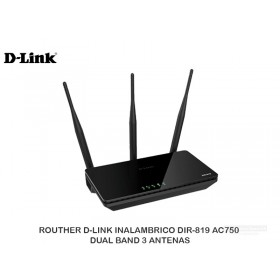 ROUTHER D-LINK INALAMBRICO DIR-819 AC750 DUAL BAND 3 ANTENAS