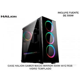 CASE HALION GAMER MAGIC MIRROR 500W 4X12 RGB VIDRO TEMPLADO