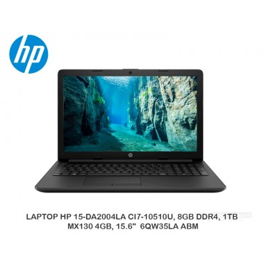 "LAPTOP HP 15-DA2004LA CI7-10510U, 8GB DDR4, 1TB, MX130 4GB, 15.6"" 6QW35LA ABM"