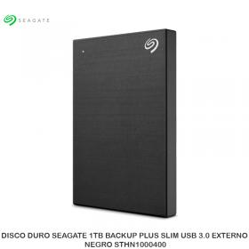 DISCO DURO SEAGATE 1TB BACKUP PLUS SLIM USB 3.0 EXTERNO, NEGRO STHN1000400