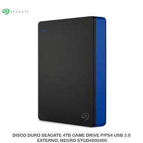 DISCO DURO SEAGATE 4TB GAME DRIVE P/PS4 USB 3.0, EXTERNO, NEGRO STGD4000400
