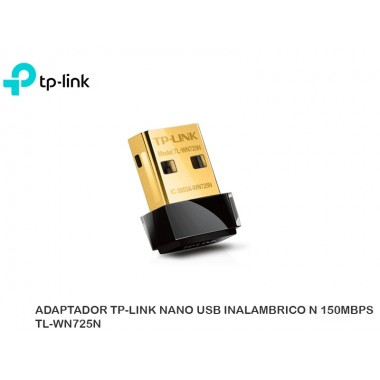 ADAPTADOR TP-LINK NANO USB INALAMBRICO N 150MBPS TL-WN725N