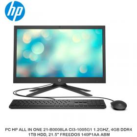 """PC HP ALL IN ONE 21-B0008LA CI3-1005G1 1.2GHZ, 4GB DDR4, 1TB HDD, 21.5"""" FREEDOS 140P1AA ABM"""