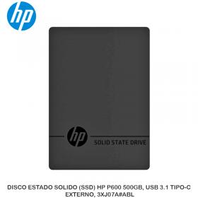 DISCO ESTADO SOLIDO (SSD) HP P600 500GB, USB 3.1 TIPO-C, EXTERNO, 3XJ07A ABL