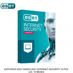 ANTIVIRUS ESET NOD32 2021 INTERNET SECURITY 10 PCS LIC. 13 MESES