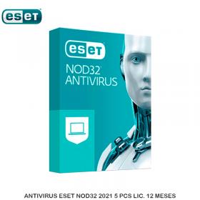 ANTIVIRUS ESET NOD32 2021 5 PCS LIC. 12 MESES