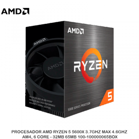 PROCESADOR AMD RYZEN 5 5600X 3.7GHZ MAX 4.6GHZ, AM4, 6 CORE - 32MB 65MB 100-100000065BOX