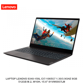 "LAPTOP LENOVO S340-15IIL CI7-1065G7 1.30/3.9GHZ 8GB, 512GB M.2, W10H, 15.6"" 81VW0007LM"