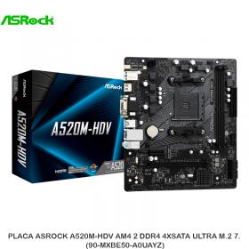 PLACA ASROCK A520M-HDV AM4 2 DDR4 4XSATA ULTRA M.2 7. PN: 90-MXBE50-A0UAYZ