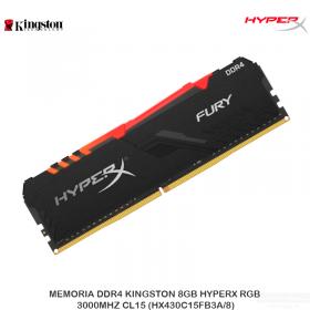 MEMORIA DDR4 KINGSTON 8GB HYPERX RGB, 3000MHZ CL15 (HX430C15FB3A/8)