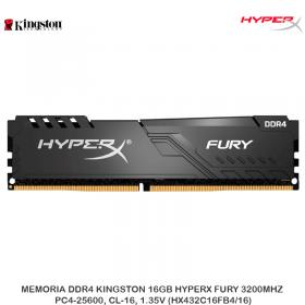 MEMORIA DDR4 KINGSTON 16GB HYPERX FURY 3200MHZ, PC4-25600, CL-16, 1.35V (HX432C16FB4/16)
