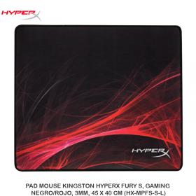 PAD MOUSE KINGSTON HYPERX FURY S, GAMING, NEGRO/ROJO, 3MM, 45 X 40 CM (HX-MPFS-S-L)