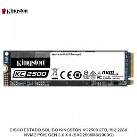 DISCO ESTADO SOLIDO KINGSTON KC2500 2TB, M.2 2280, NVME PCIE GEN 3.0 X 4 (SKC2500M8/2000G)