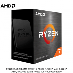 PROCESADOR AMD RYZEN 7 5800X 3.8GHZ MAX 4.7GHZ, AM4, 8 CORE, 32MB, 105W 100-100000063WOF
