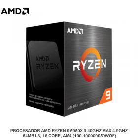PROCESADOR AMD RYZEN 9 5950X 3.40GHZ MAX 4.9GHZ, 64MB L3, 16 CORE, AM4 (100-100000059WOF)