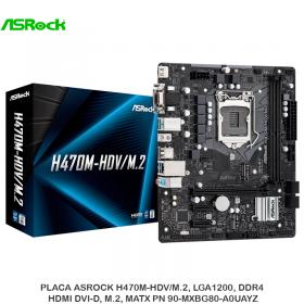PLACA ASROCK H470M-HDV/M.2, LGA1200, DDR4, HDMI DVI-D, M.2, MATX PN 90-MXBG80-A0UAYZ