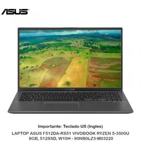 LAPTOP ASUS F512DA-RS51 VIVOBOOK RYZEN 5-3500U, 8GB, 512SSD, W10H - 90NB0LZ3-M03220