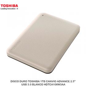 "DISCO DURO TOSHIBA 1TB CANVIO ADVANCE 2.5"", USB 3.0 BLANCO HDTCA10XW3AA"