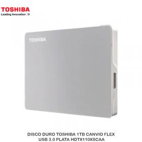 DISCO DURO TOSHIBA 1TB CANVIO FLEX, USB 3.0 PLATA HDTX110XSCAA