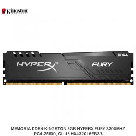 MEMORIA DDR4 KINGSTON 8GB HYPERX FURY 3200MHZ, PC4-25600, CL-16 HX432C16FB3/8
