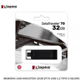 MEMORIA USB KINGSTON 32GB DT70 USB 3.2 TIPO C NEGRO