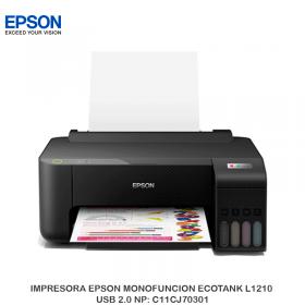 IMPRESORA EPSON MONOFUNCION ECOTANK L1210 USB 2.0 NP: C11CJ70301