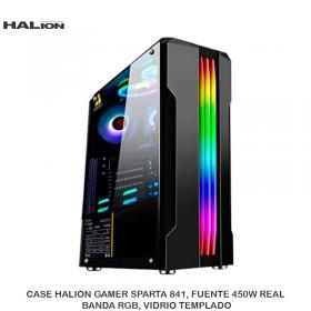 CASE HALION GAMER SPARTA 841, FUENTE 450W REAL, BANDA RGB, VIDRIO TEMPLADO