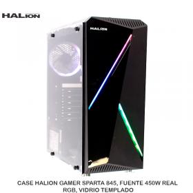 CASE HALION GAMER SPARTA 845, FUENTE 450W REAL, RGB, VIDRIO TEMPLADO