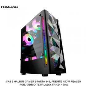 CASE HALION GAMER SPARTA 848, FUENTE 450W REALES, RGB, VIDRIO TEMPLADO, FANX4 450W