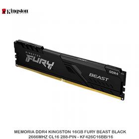 MEMORIA DDR4 KINGSTON 16GB FURY BEAST BLACK, 2666MHZ CL16 288-PIN - KF426C16BB/16