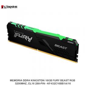 MEMORIA DDR4 KINGSTON 16GB FURY BEAST RGB, 3200MHZ, CL16 288-PIN - KF432C16BB1A/16