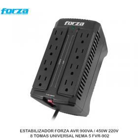 ESTABILIZADOR FORZA AVR 900VA / 450W 220V 8 TOMAS UNIVERSAL NEMA 5 FVR-902