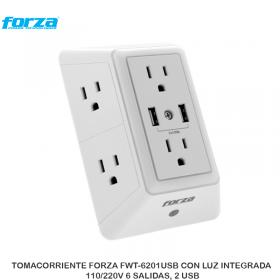 TOMACORRIENTE FORZA FWT-6201USB CON LUZ INTEGRADA, 110/220V 6 SALIDAS, 2 USB