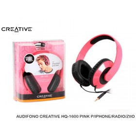 AUDIFONO CREATIVE HQ-1600 PINK P/IPHONE/RADIO/ZIIO