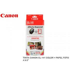 "TINTA CANON CL-141 COLOR + PAPEL FOTO 4 X 6"""
