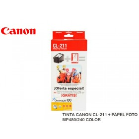 TINTA CANON CL-211 + PAPEL FOTO MP480/240 COLOR