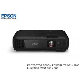 PROYECTOR EPSON POWERLITE S31+ 3200LUMENES SVGA 800 X 600
