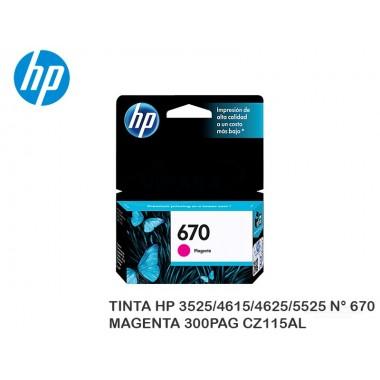 TINTA HP 3525/4615/4625/5525 N° 670 MAGENTA 300PAG CZ115AL