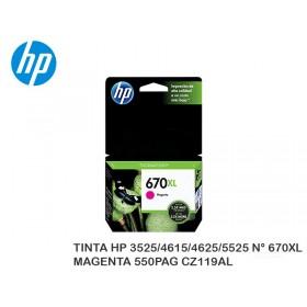 TINTA HP 3525/4615/4625/5525 N° 670XL MAGENTA 550PAG CZ119AL
