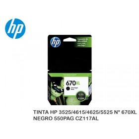 TINTA HP 3525/4615/4625/5525 N° 670XL NEGRO 550PAG CZ117AL