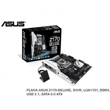 PLACA ASUS Z170-DELUXE, S/V/R, LGA1151, DDR4, USB 3.1, SATA 6.0 ATX