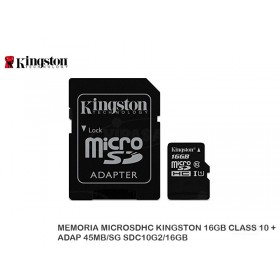 MEMORIA MICROSDHC KINGSTON 16GB CLASS 10 + ADAP 45MB/SG SDC10G2/16GB