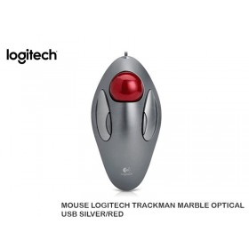 MOUSE LOGITECH TRACKMAN MARBLE OPTICAL USB SILVER/RED