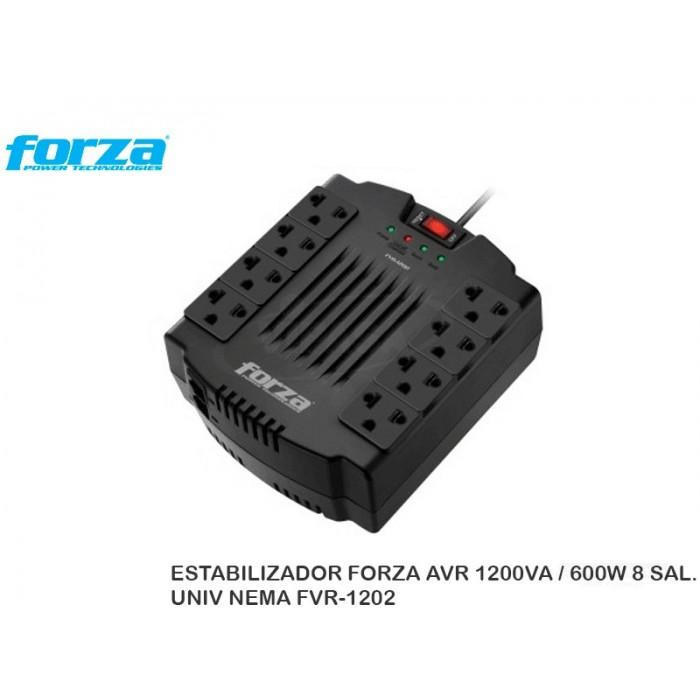 ESTABILIZADOR FORZA AVR 1200VA / 600W 8 SAL. UNIV NEMA FVR-1202